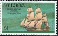 St Lucia 1976 200th Anniversary of American Revolution - Revolutionary Era Ships h