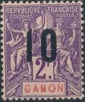 Gabon 1912 Navigation and Commerce Surcharged l