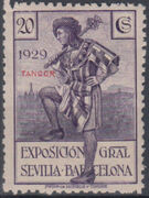 Tangier-Spain 1929 Seville-Barcelona Issue of Spain Overprinted in Blue or Red d