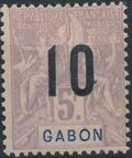 Gabon 1912 Navigation and Commerce Surcharged m