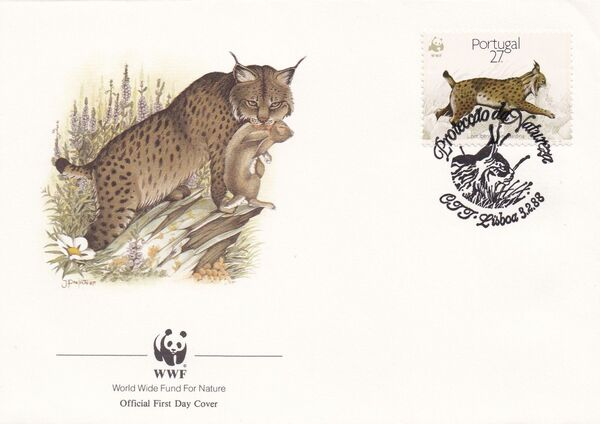 Portugal 1988 WWF Iberian Lynx (Lynx pardina) FDCc