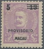 Macao 1900 Carlos I of Portugal Surcharged in Black a