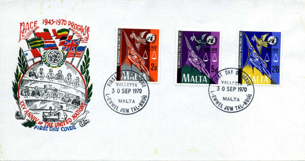 Malta 1970 25th Anniversary of the United Nations FDCa