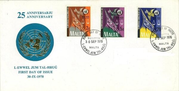 Malta 1970 25th Anniversary of the United Nations FDCc