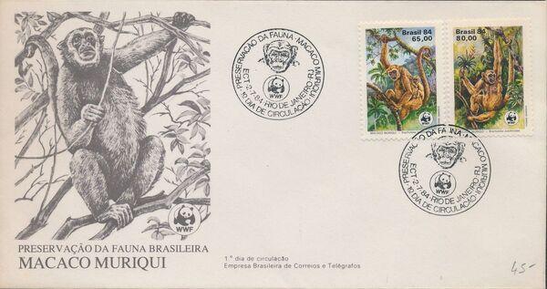 Brazil 1984 WWF - Southern Muriqui FDCe