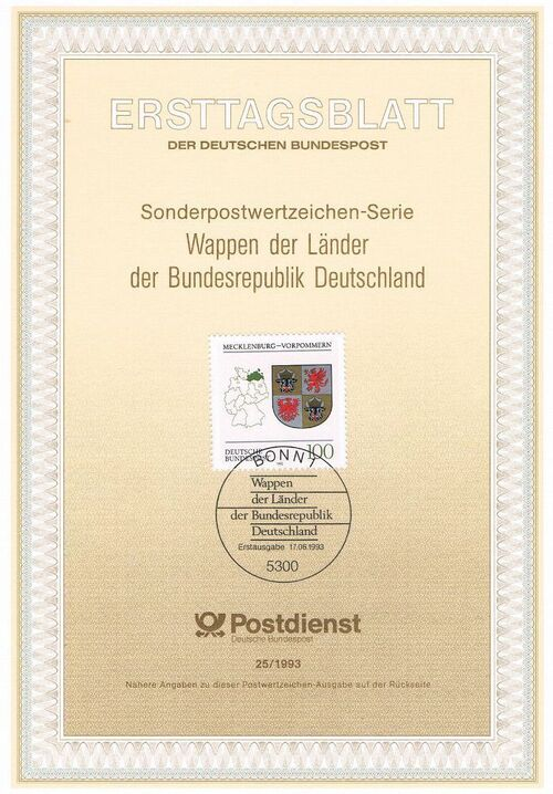 Germany, Federal Republic 1993 Coat of Arms of the Federal States of Germany (2nd Group) IOP-ETBb