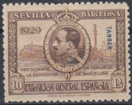 Tangier-Spain 1929 Seville-Barcelona Issue of Spain Overprinted in Blue or Red k