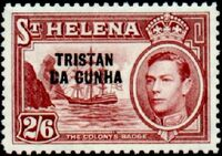 Tristan da Cunha 1952 Stamps of St. Helena Overprinted j