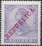 Azores 1911 D. Manuel II Overprinted REPUBLICA a