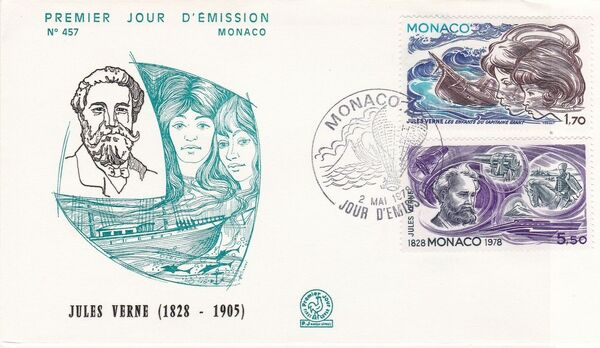 Monaco 1978 Birth Sesquicentennial of Jules Verne FDCh
