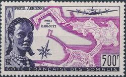 French Somali Coast 1956 Somali Woman and Map of Djibouti a