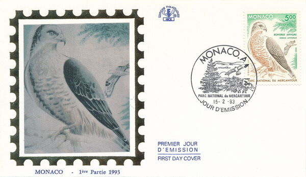 Monaco 1993 Birds of Prey in Mercantour National Park FDCd