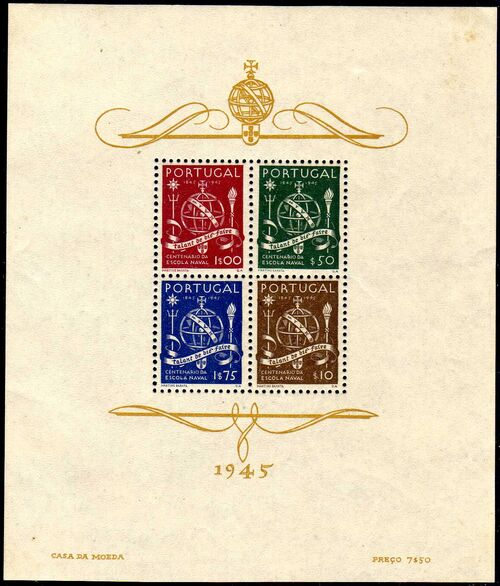 Portugal 1945 100th Anniversary of the Maritim School h