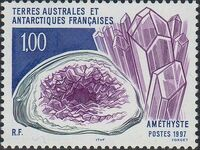 French Southern and Antarctic Territories 1997 Minerals - Amethyst a
