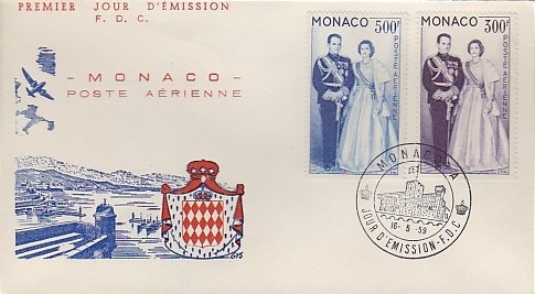 Monaco 1959 Air Post-Prince Rainier III and Princess Grace c