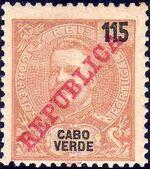 Cape Verde 1911 D. Carlos I Overprinted j