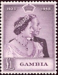 Gambia 1948 Silver Wedding of King George VI & Queen Elizabeth b
