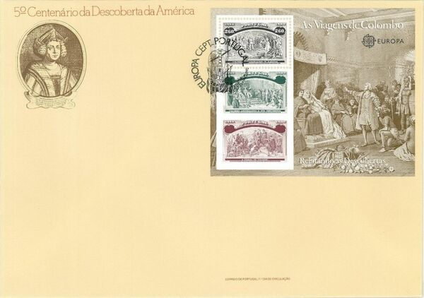 Portugal 1992 EUROPA - 5th Centenary of Discovery of America FDCe