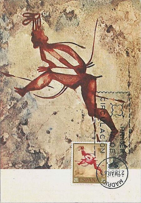 Spain 1967 - Wall Paintings from Paleolithic and Mesolithic Found in Spanish Caves MCf
