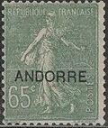 "Andorra-French 1931 Type ""Semeuse"" of France Overprinted ""ANDORRE"" h"