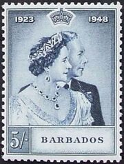 Barbados 1948 Silver Wedding of King George VI & Queen Elizabeth b