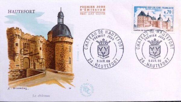 France 1969 Tourism - Hautefort Chateau FDCa
