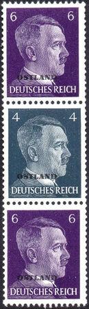 German Occupation-Russia Ostland 1941 Stamps of German Reich Overprinted in Black s