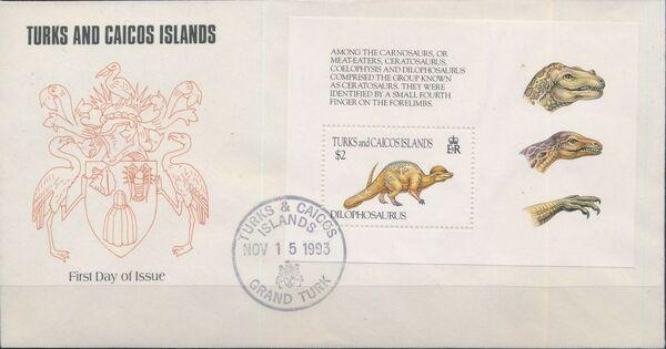 Turks and Caicos Islands 1993 Prehistoric Animals FDCd