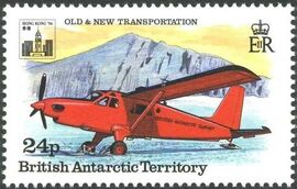 British Antarctic Territory 1994 Old and New Transportation Ovpt. Hong Kong '94 Emblem b