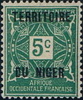 Niger 1921 Postage Due Stamps of Upper Senegal and Niger Overprinted a