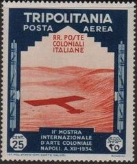 Tripolitania 1934 2nd Colonial Arts Exhibition in Naples-Air Post g