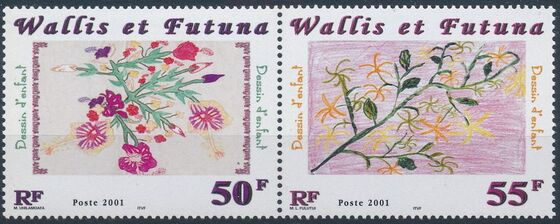 Wallis and Futuna 2001 Children's Drawings of Flowers a