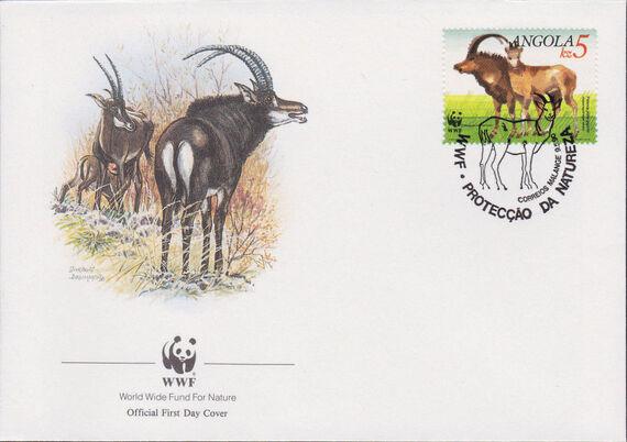 Angola 1990 WWF - Giant Sable Antelope FDCb