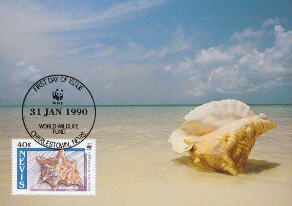 Nevis 1990 WWF Queen Conchs (Strombus gigas) MCb