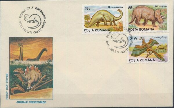 Romania 1993 Dinosaurs FDCb