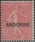 "Andorra-French 1931 Type ""Semeuse"" of France Overprinted ""ANDORRE"" g"