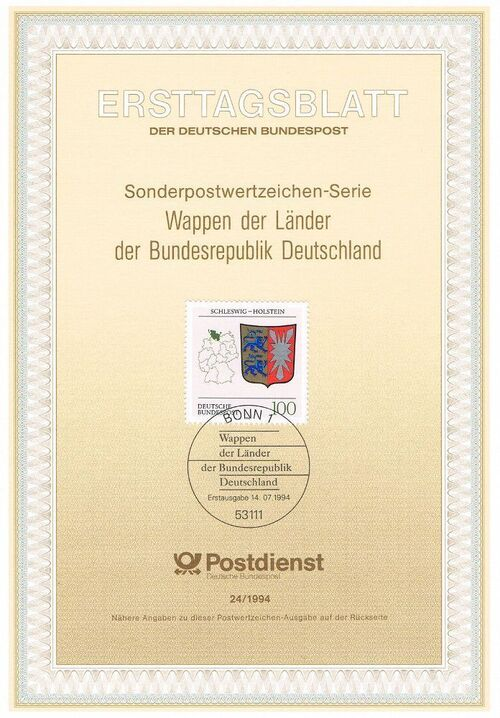 Germany, Federal Republic 1994 Coat of Arms of the Federal States of Germany (3rd Group) IOP-ETBd