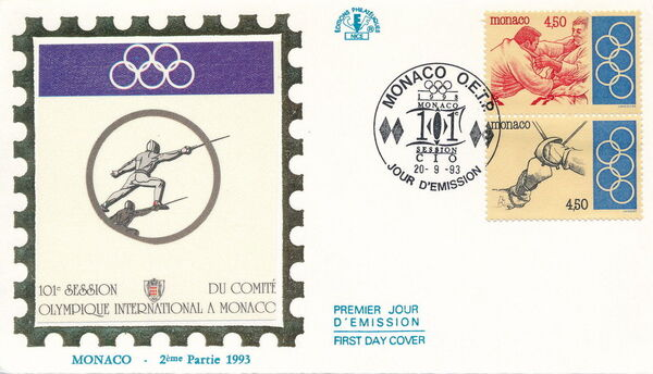Monaco 1993 101st Session International Olympic Committee FDCf