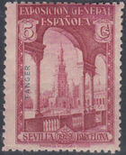 Tangier-Spain 1929 Seville-Barcelona Issue of Spain Overprinted in Blue or Red a