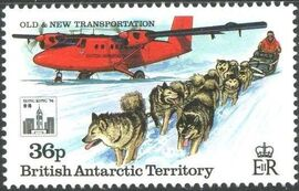 British Antarctic Territory 1994 Old and New Transportation Ovpt. Hong Kong '94 Emblem d