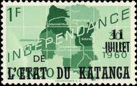 Katanga 1960 Postage Stamps from Congo Overprinted c