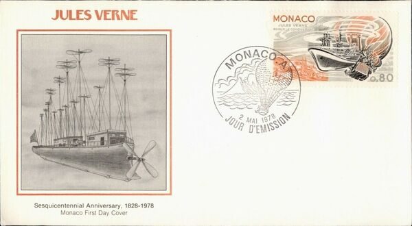 Monaco 1978 Birth Sesquicentennial of Jules Verne FDCl