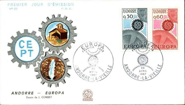 Andorra-French 1967 Europa FDCd