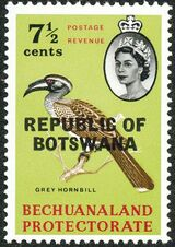 Botswana 1966 Overprint REPUBLIC OF BOTSWANA on Bechuanaland 1961 f