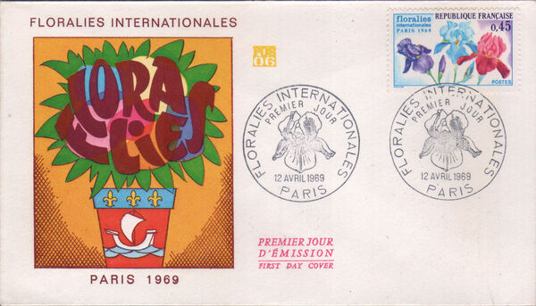 France 1969 3rd International. Flower Show in Paris FDCa
