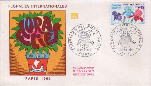 France 1969 3rd International. Flower Show in Paris FDCa