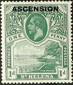 "Ascension 1922 Stamps of St. Helena Overprinted ""ASCENSION"" b"