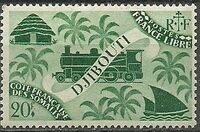 French Somali Coast 1943 Locomotive and Palms n