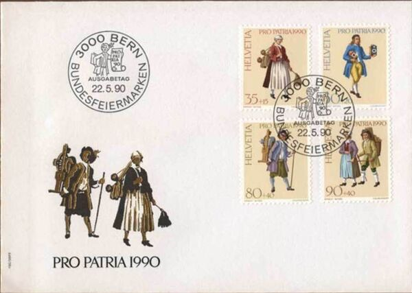 Switzerland 1990 PRO PATRIA - Street criers FDCa