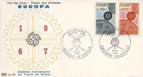 Andorra-French 1967 Europa FDCf